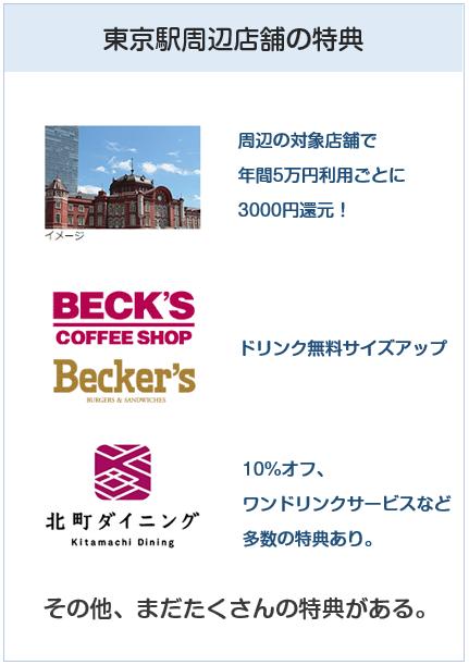 ビューゴールドプラスカードの東京駅周辺店舗での特典について
