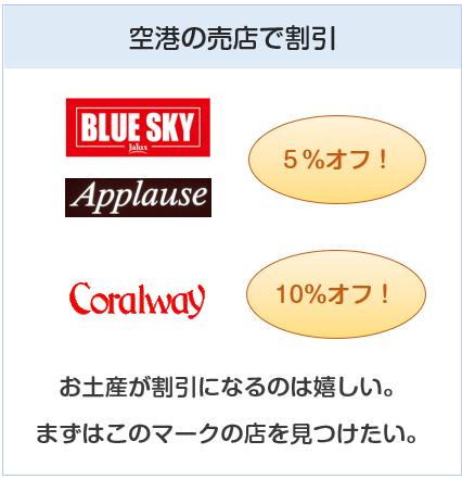 JALカードは空港の売店で5%~10%オフの特典がある