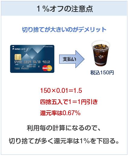 P-oneカードは切り捨てが大きいので、1%還元ではない