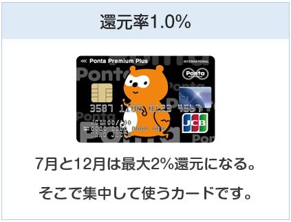ポンタプレミアムプラスはかんげんりつ1%のクレジットカード