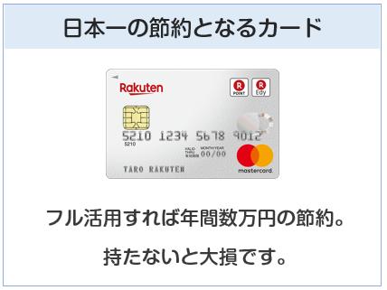 楽天カードは日本一の節約となるクレジットカード
