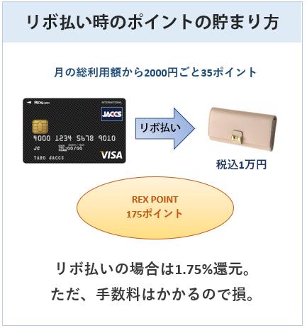 レックスカードはリボ払い時は1.75%還元