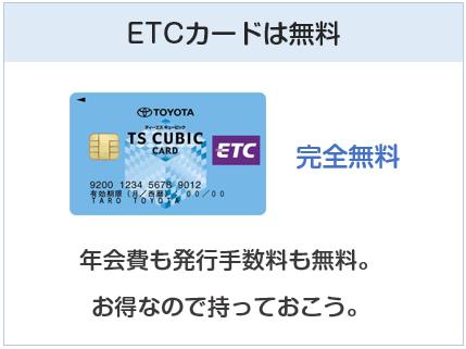 TSキュービックカードのETCカードは無料