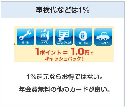 TSキュービックカードは新車以外は1%還元