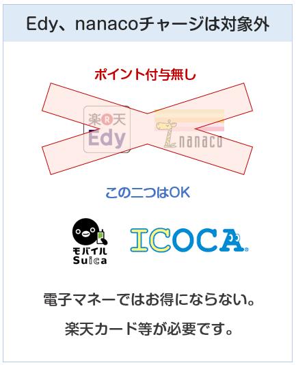 ヨドバシカメラクレジットカードは電子マネーチャージはEdy、nanacoはポイント付与対象外