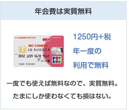 ビックカメラ JQ SUGOCAカードの年会費は実質無料