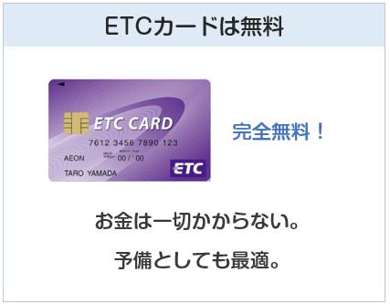 イオンカードセレクトのETCカードは無料