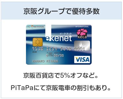京阪カード(e-kenet VISAカードPiTaPa)は京阪グループで優待多数のクレジットカード