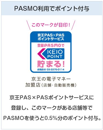 京王パスポートVISAカードのPASMOは提携店利用でポイントが貯まる