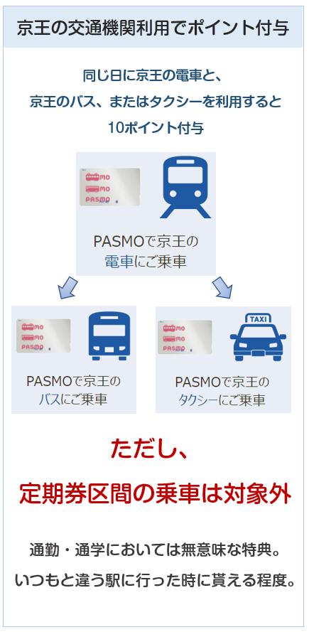 京王パスポートVISAカードのPASMOの電車・バスでの乗車でのポイント付与について