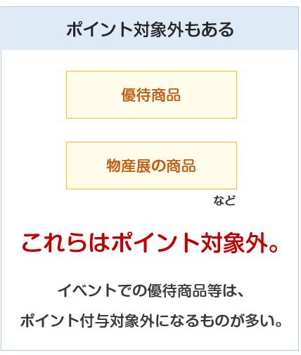 東京スカイツリー東武カードPASMOの東武百貨店でのポイント対象外について