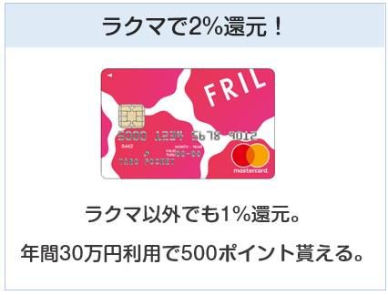 フリルカードはラクマで2%還元となるクレジットカード