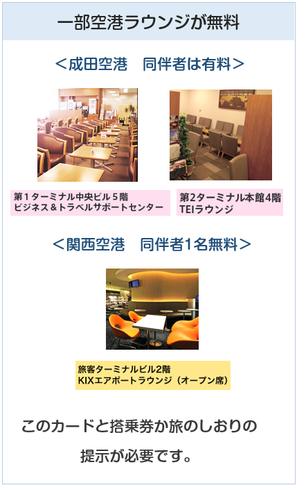 クラブツーリズムカードの空港ラウンジ無料について