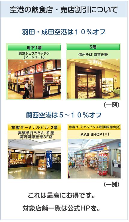 クラブツーリズムカードの空港の飲食店・売店割引特典について