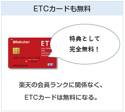 楽天ゴールドカードは楽天の会員ランク関係なくETCカードは無料