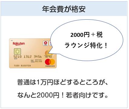 楽天ゴールドカードは年会費が格安(2000円)