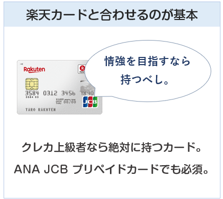 ANA JCB プリペイドカードは楽天カードと合わせるのが基本