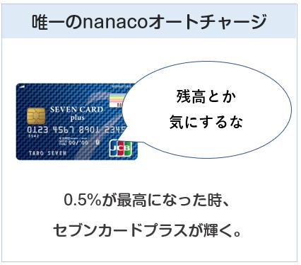 nanacoチャージの還元率が最高0.5%になったら、セブンカードプラスが輝く
