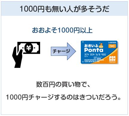 プリペイドカードのチャージは1000円以上であることが多い