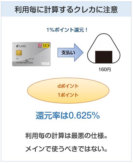 クレジットカードの還元率は、利用毎のポイント付与計算のカードは大きく還元率が下がる