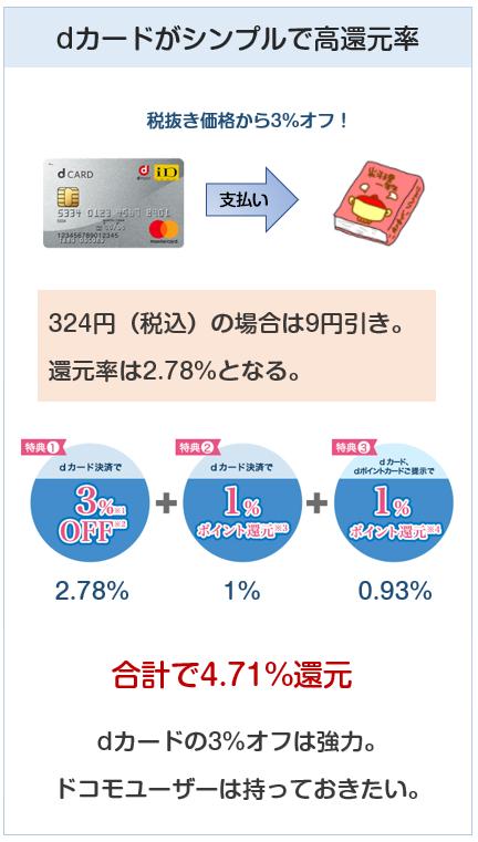 ローソンでのdカード払いの還元率は4.71%で最高ではない