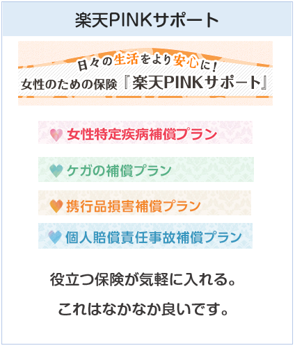 楽天PINKカードの女性向け保険