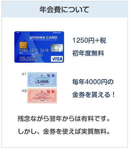AOYAMA VISAカード(青山カード)の年会費について