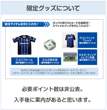 ガンバ大阪VISAカード(ガンバ大阪カード)の限定グッズについて