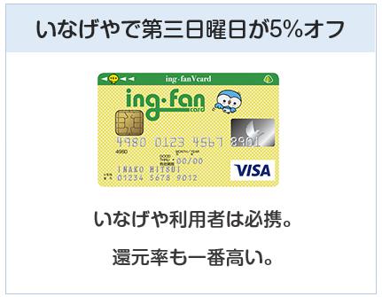 ing・fanVカード(イングファンVカード)はいなげやで5%オフになるクレジットカード