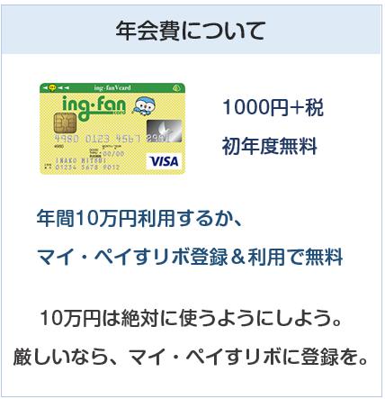 ing・fanVカード(イングファンVカード)の年会費について