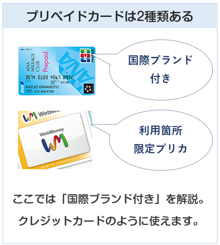 プリペイドカードは2種類ある (国際ブランド付きと、利用箇所限定)
