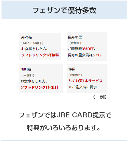 JRE CARDはフェザンの専門店にて優待が多数あるクレジットカード