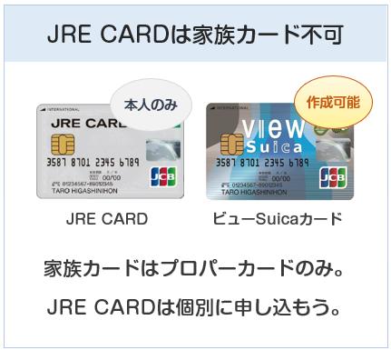 JRE CARDとVIEWカードの違い:家族カードの作成可否