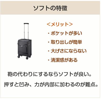 スーツケースのソフト型の特徴